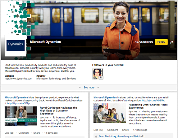 LinkedIn Showcase Page example